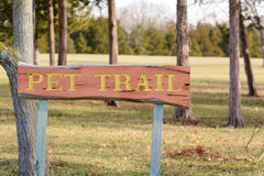 Pet Trail wooden sign Stock Photo