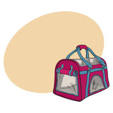 Pet travel fabric carrier, bag for transporting cats and dogs Royalty Free Stock Photos