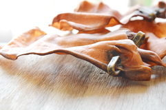 Pet a vaca secada petisco da orelha com carne real do laço certamente na placa de madeira foto de stock