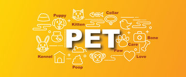 Pet vector trendy banner Royalty Free Stock Image