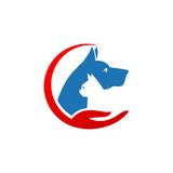 Pet and Veterinarian Logo ,animal lover group Royalty Free Stock Image