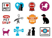 Pet veterinary icons. Colorful veterinary icons with pet and concept symbols Royalty Free Stock Images