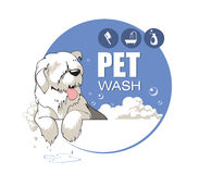 Pet Wash. Cartoon of a happy dog washing in the Bathtub Royalty Free Stock Photos