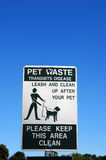 Pet waste sign Royalty Free Stock Image