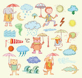 Pet weather elements, vector illustration Royalty Free Stock Photo