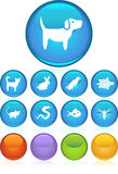 Pet web buttons - round. Set of 9 pet web buttons - round style Royalty Free Stock Photo