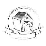 Pet wooden house icon Stock Photography