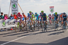 Petacchi and other cyclists. Petacchi , Di luca , Gatto, Millar, Nocentini  in the ninth stage of Giro d\'Italia during the ascent of Etna Royalty Free Stock Image