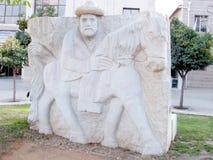 Petah Tikva Bas Relief van een mens in hoed op een paard 2010 Stock Foto's