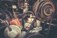PETAH TIQWA, ISRAEL - MAY 14, 2016: Rear engine of a Volkswagen Beetle in Petah Tiqwa, Israel. PETAH TIQWA, ISRAEL - MAY 14, 2016: Rear engine of a Volkswagen Royalty Free Stock Images
