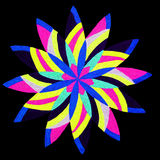 Petal abstract. A marker drawing of a round petal shape pattern isolated on a black background stock photography