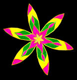 Petal abstract. A marker drawing of a round petal shape pattern isolated on a black background royalty free stock photo