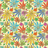 Petal Colors Half Seamless Pattern_eps. Illustration of flower with petal half colors and bird seamless pattern on yellow background. --- This .eps file info stock illustration