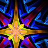 Petal pattern in blue and yellow. Computer generated graphics Stock Photos