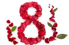 Petali di Rosa in una figura degli otto Fotografie Stock Libere da Diritti