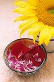 Petali, girasole e tovagliolo di Aromatherapy Fotografie Stock