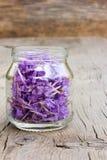 Petali lilla pallidi del fiore in un barattolo di vetro Fotografia Stock