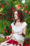 Petali rosa della donna romantica Immagini Stock