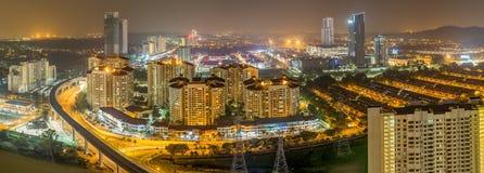 Petaling Jaya i Malaysia på natten Arkivfoto