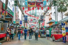 Petaling Street is a chinatown which is located in Kuala Lumpur,Malaysia.It usually crowded with locals as well as tourists. Stock Photo