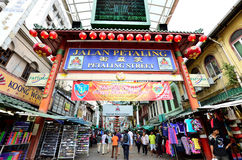 Petaling Street. Kuala Lumpur,Malaysia - February 16, 2014 : Petaling Street is a china town which is located in Kuala Lumpur,Malaysia.It usually crowded with stock photography