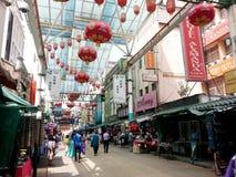 Petalingsstraat Kuala Lumpur, Chinatown Maleisië Stock Foto's