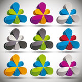 Petals 3d vector icon set. Royalty Free Stock Images