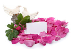 Petals, figurine and blank card Stock Images