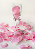 Petals and Flutes. Pink and white rose petals surrounding two wine glasses over a pink to white gradient background Royalty Free Stock Photography