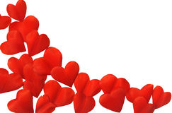 Petals in heart shape over white background Royalty Free Stock Photos