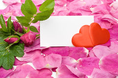 Petals, hearts and blank card Royalty Free Stock Photography