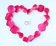 Petals of rose flower in heart shape with couple wedding rings  on white background.  Royalty Free Stock Images