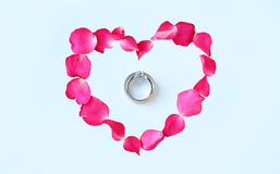 Petals of rose flower in heart shape with couple wedding rings  on white background.  Royalty Free Stock Photo