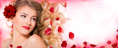 Petals rose hairstyle and makeup Royalty Free Stock Images