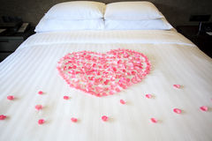 Petals of roses on a white honeymoon bed. In the room Stock Photos