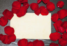 Petals and a sheet of paper Royalty Free Stock Photography