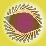 Petals in a spiral on the yellow background. Glare circle Vector Illustration