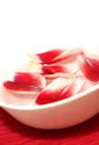 Petals with water drops in white bowl Stock Photo