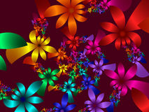 Petals4. High resolution fractal rendering of multi colored flower petals Stock Photo