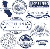 Petaluma市,加州 邮票和标志 免版税库存图片