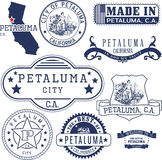 Petaluma city, CA. Stamps and signs Royalty Free Stock Images