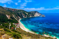 Petani beach in Greece. High angle view of Petani beach and cliffs in Kefalonia, Greece Stock Photography
