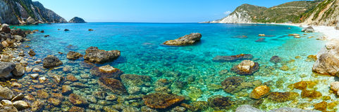 Petani Beach (Kefalonia, Greece) panorama. Royalty Free Stock Photo