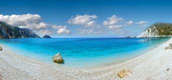 Petani Beach summer panorama Kefalonia, Greece Stock Photography