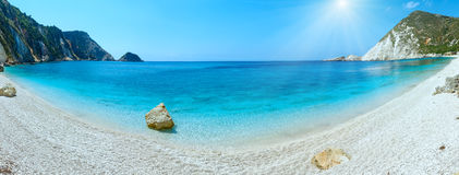 Petani Beach summer sunshiny panorama Kefalonia, Greece. Petani Beach Kefalonia, Greece. Summer sunshiny coast panorama Stock Image