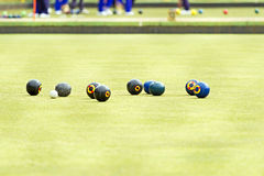 Petanque balls on the ground Stock Images