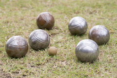 Petanque balls. On the ground royalty free stock image