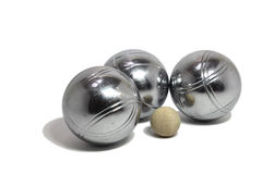Free Petanque Balls With A Jack (cochonnet) Royalty Free Stock Image - 19813366