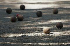 Petanque balowi boules pyskują Fotografia Royalty Free