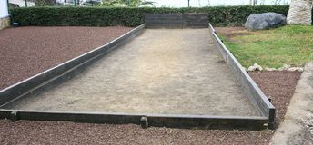 Petanque court in a park stock photo